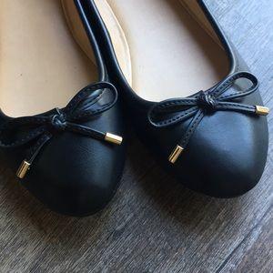 Black Ballet Flats Gold Accents 7